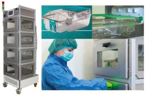 Différentes vues du multi-rack CO2 pour l'anesthésie animale.